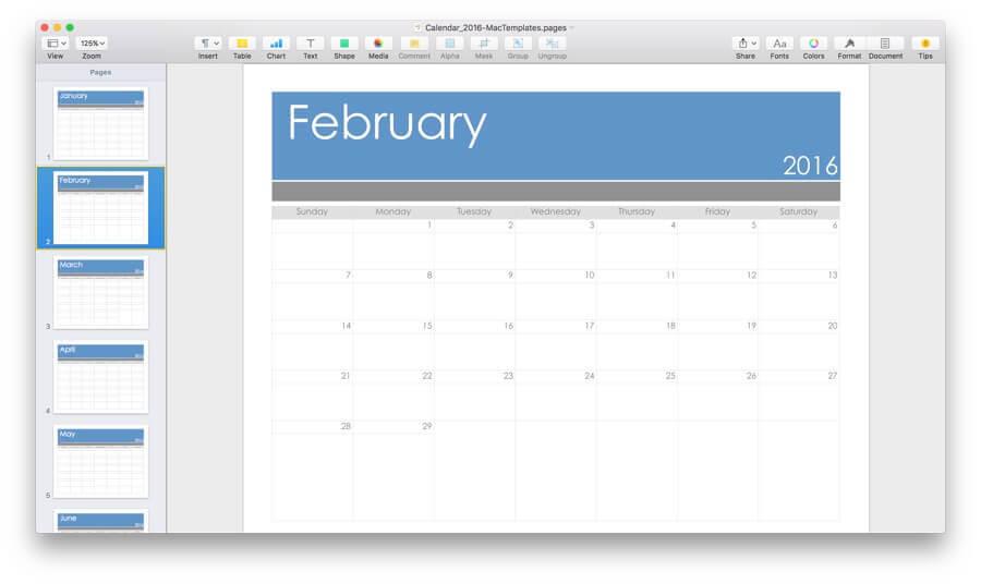 2016 Calendar Template for Pages  PDF- MacTemplates - calendar template for website