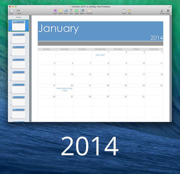 2013 Calendar - MacTemplates - calendar template for mac