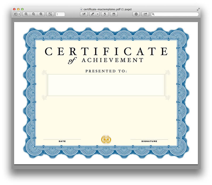 Certificate Template for Pages and PDF - MacTemplates