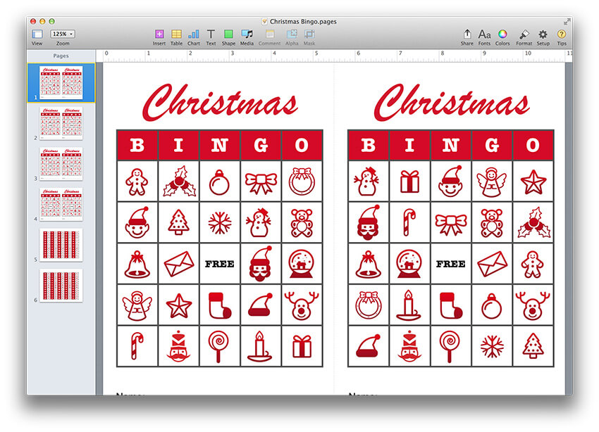 Christmas Bingo Template PDF or Pages - MacTemplates