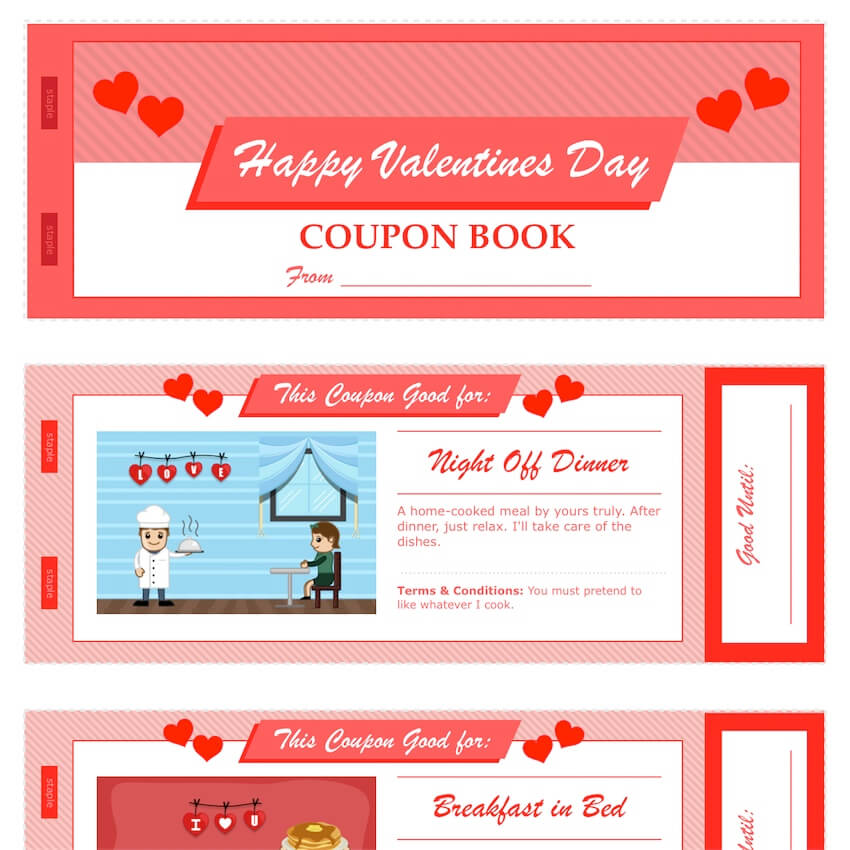 Valentine\u0027s Day Coupon Book for Pages  PDF - MacTemplates