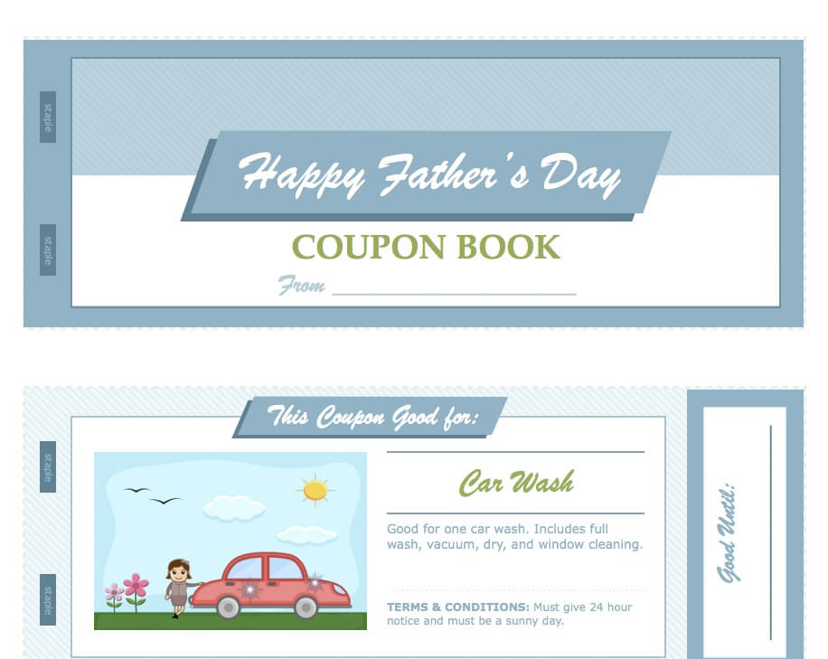 Father\u0027s Day Coupon Book for Apple Pages from MacTemplates