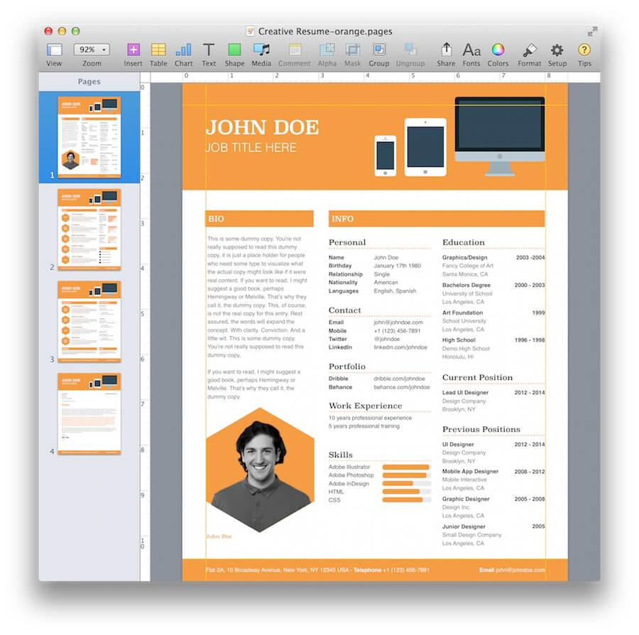 resume template in mac word