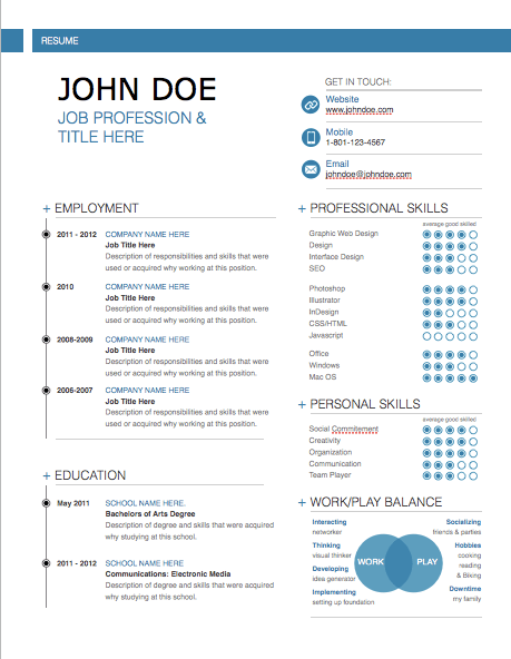 adobe cs resume template