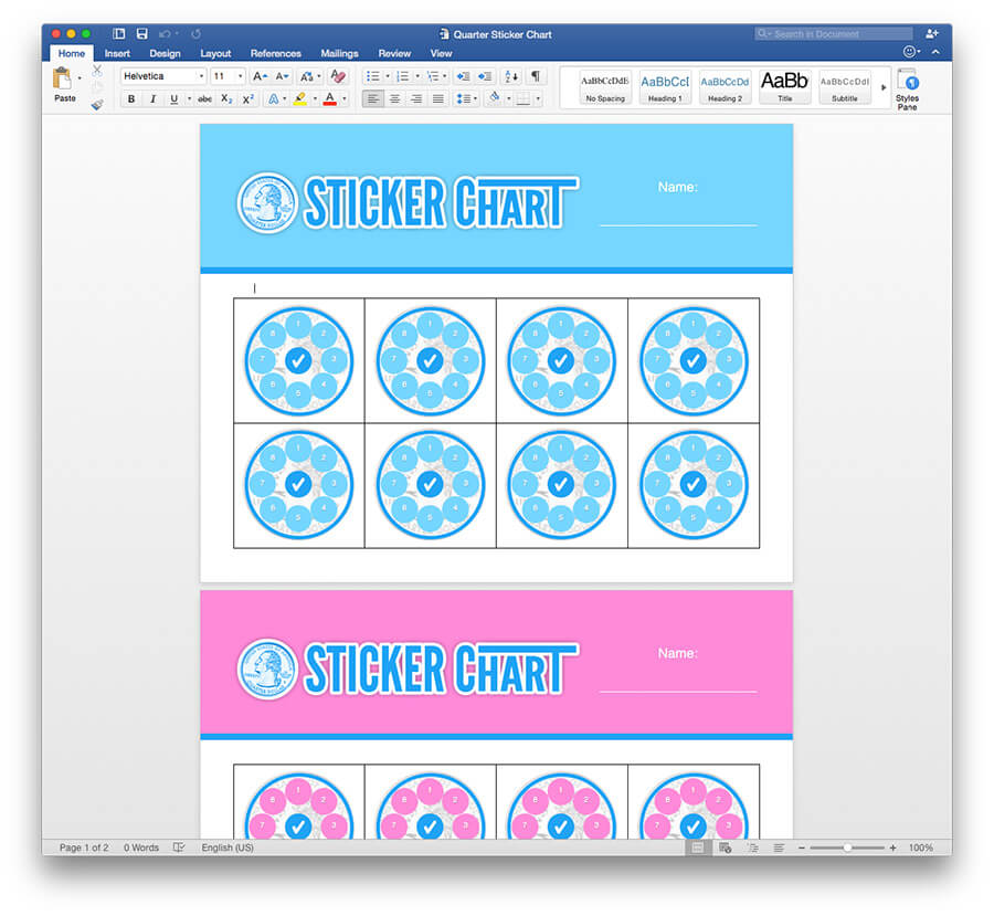 Quarter Sticker Chart Template for Pages, PDF,  Word