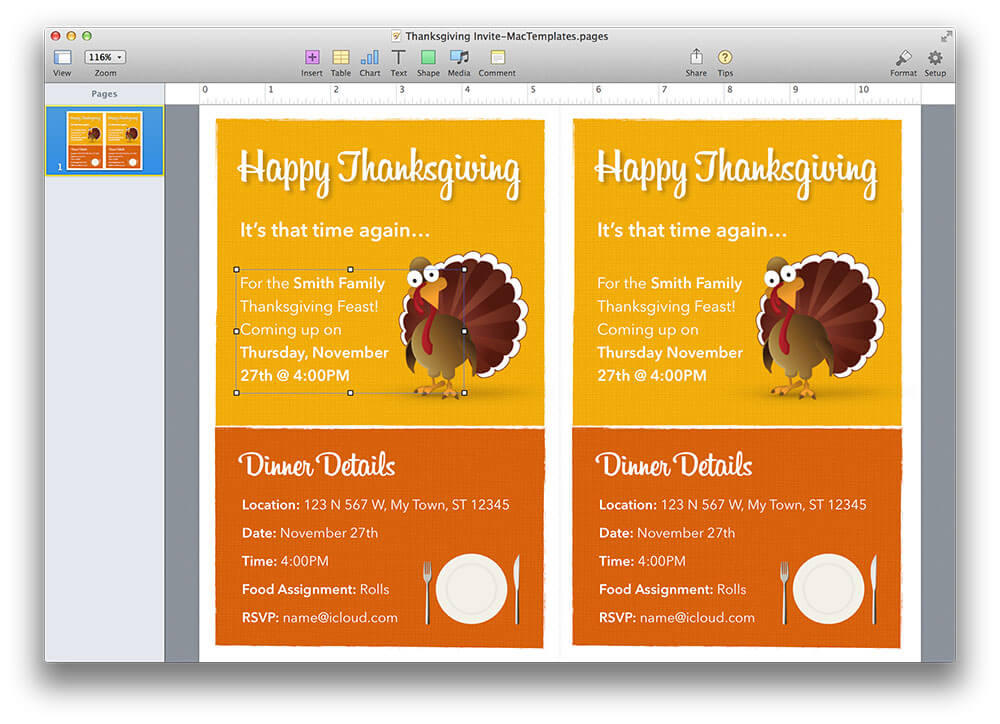 Thanksgiving Invitation Template for Pages - thanksgiving invitation template