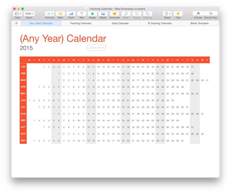 Any Year) Calendar Tracker Template for Numbers - calendar tracker