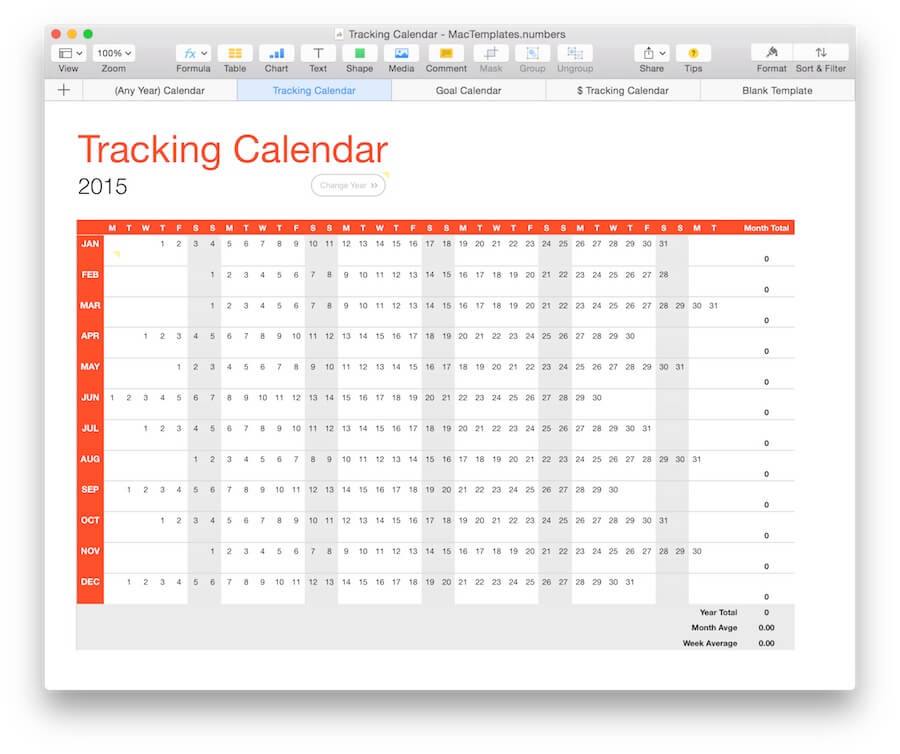 Any Year) Calendar Tracker Template for Numbers - calendar template for mac