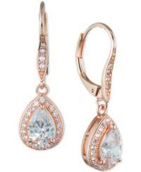 Anne Klein Teardrop Crystal and Pav Drop Earrings ...