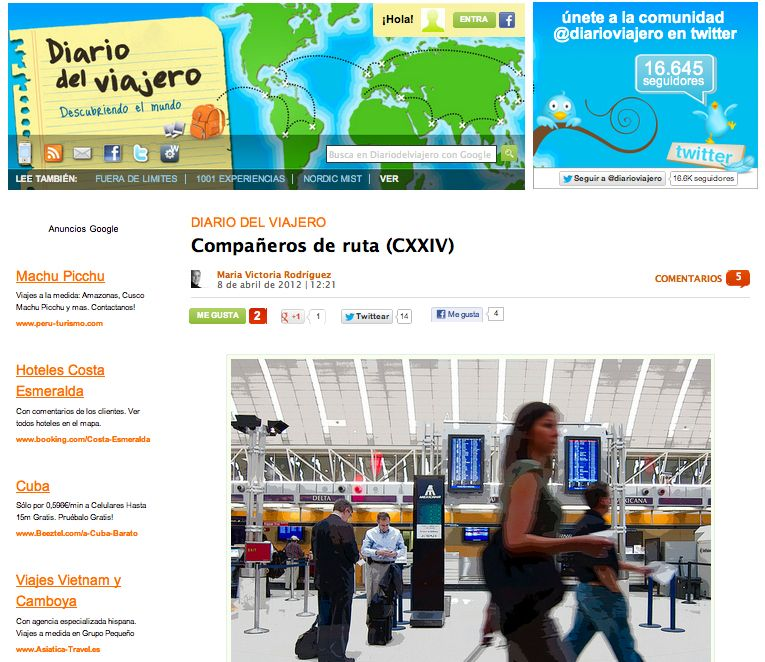 Mención en el blog Diario del Viajero