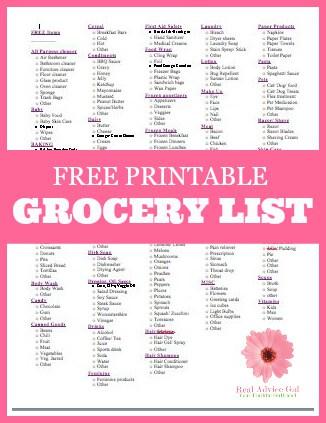 Free Printable Grocery List - Madame Deals, Inc