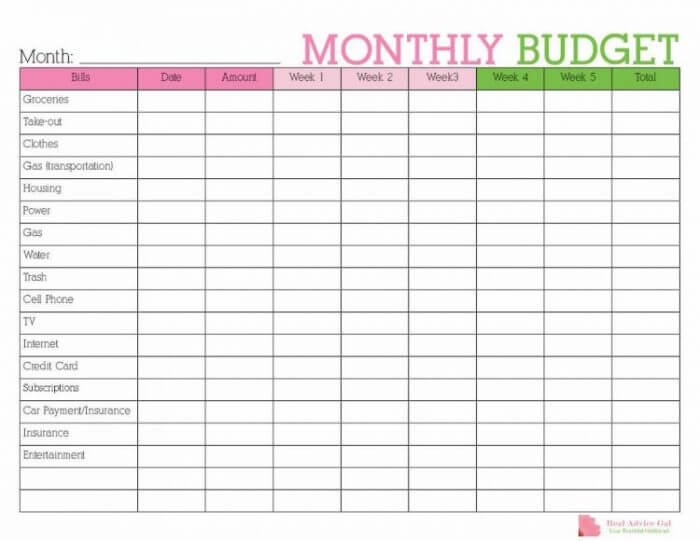 easy monthly budget planner