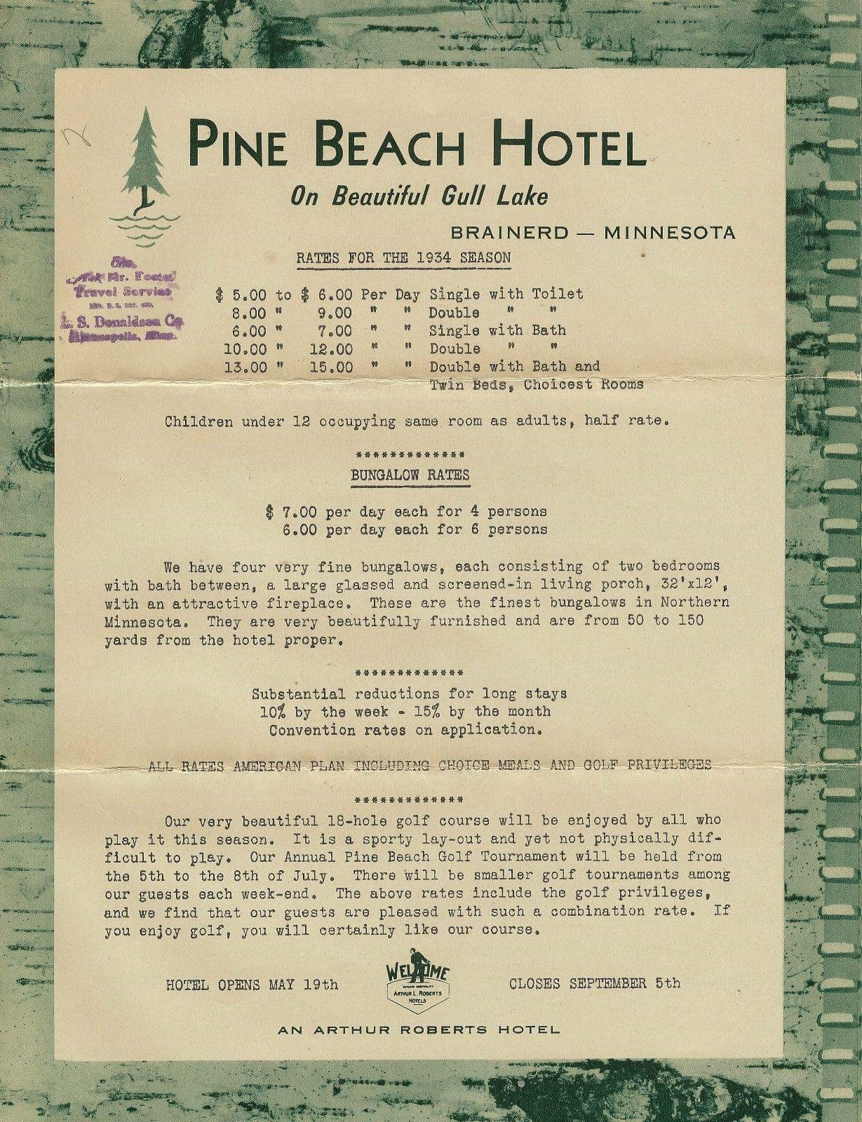 History Minnesota Golf Resort Madden 39 S On Gull Lake - Hotel Rates History