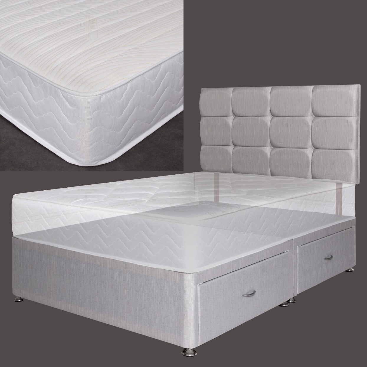 Double Divan Beds Double Premium Pocket Rolled Mattress With Platform Divan Bed Set