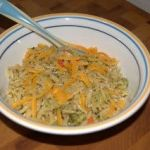 Carrots and Broccoli in Orzo Pasta Topped with Cheddar Cheese (Baby Food)
