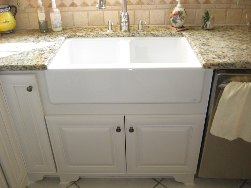 Baroque Apron Front Sink In Kitchen Traditional With