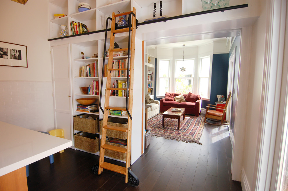 Inspired Ladder Bookshelfin Family Room Eclectic With