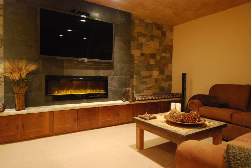 Inspired Lowes Electric Fireplace In Family Room Contemporary With Fireplace Tv Next To Wall