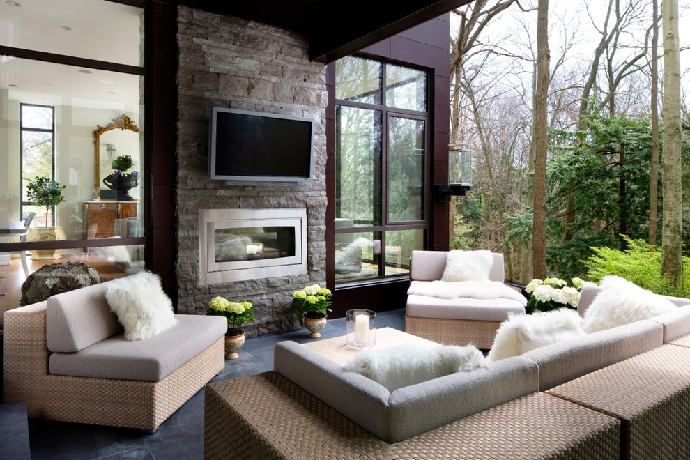 Inspired Napoleon Fireplace In Deck Transitional With