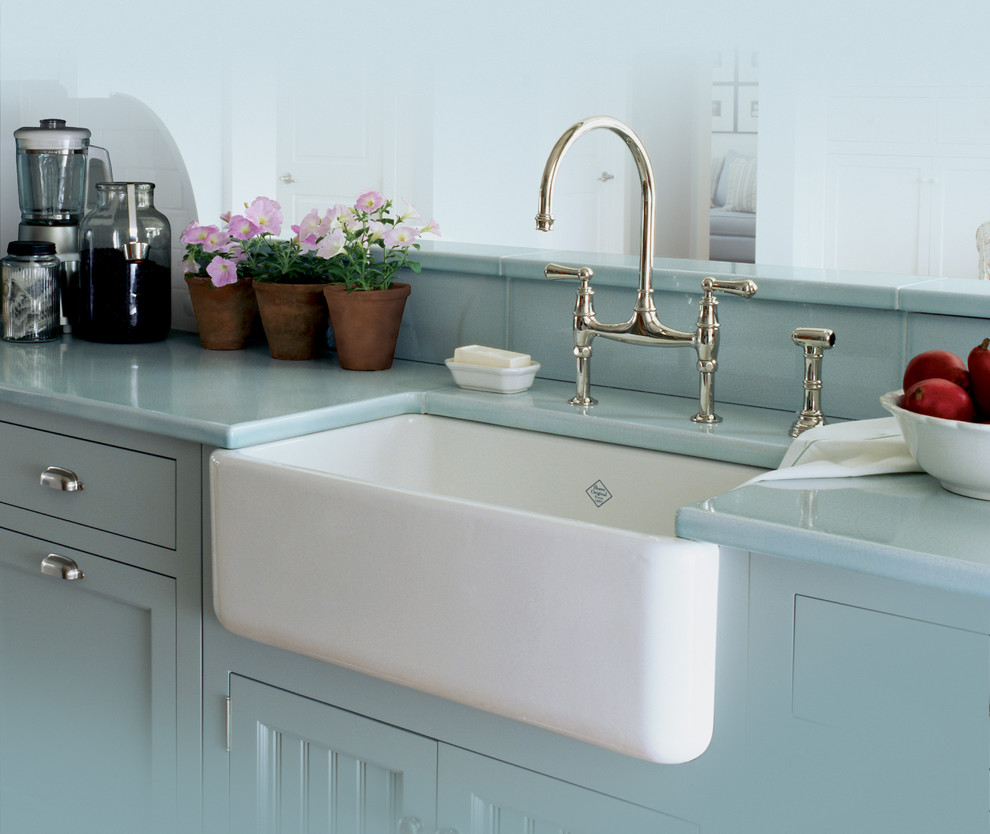 Innovative apron sinks in Kitchen Traditional with Rohl Faucet next to Apron Front Sink alongside Bridge Faucet andApron Sink