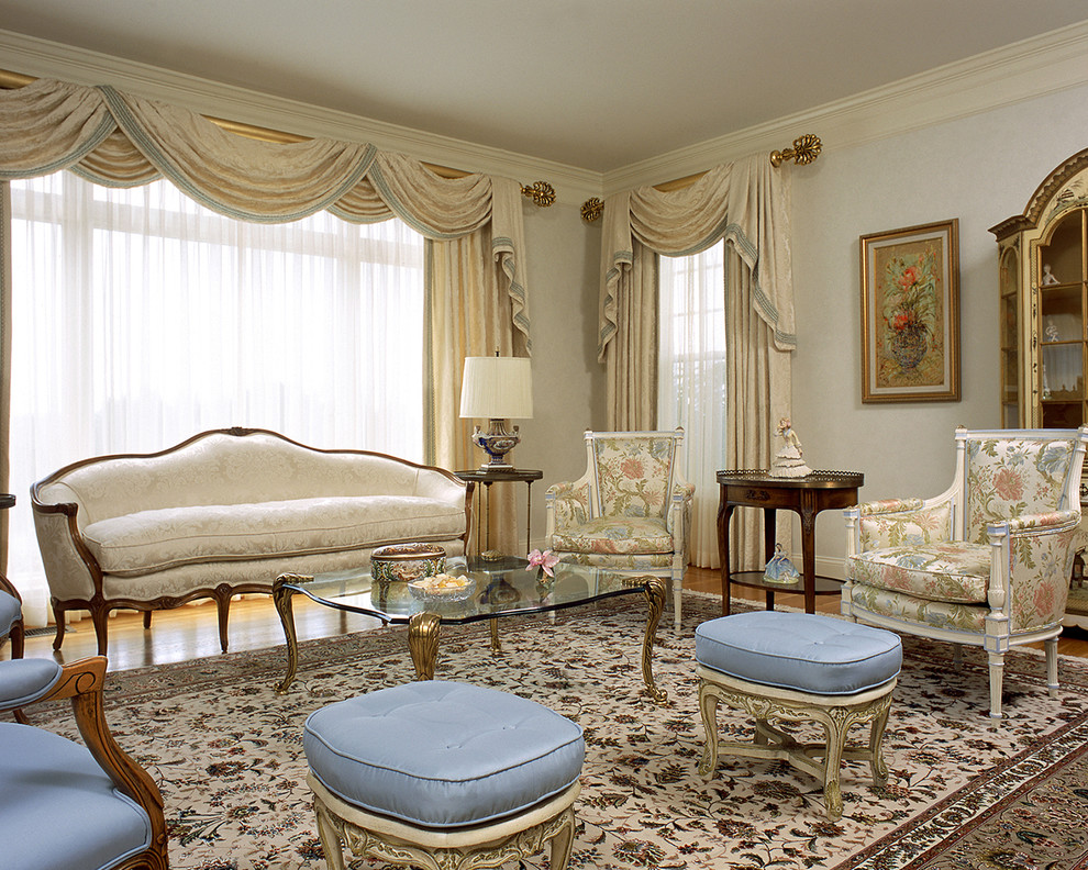 Sumptuous curtain valances in Living Room Traditional with French - valances for living room