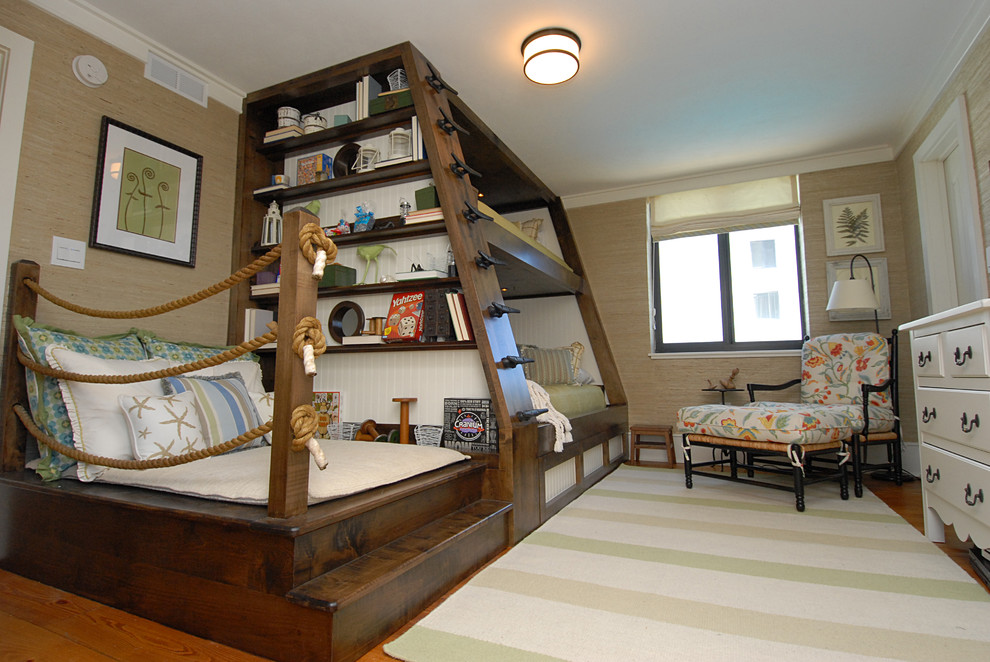 Bright Bunk Beds With Trundle In Kids Traditional With