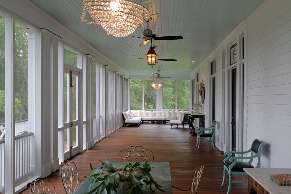 Terrasse Anbauen Screened In Porch Farmhouse With Outdoor Sectional