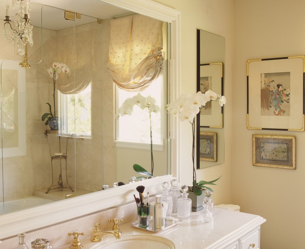 Large Oval Mirror Bathroom Contemporary With Floating Vanity Roman Shades
