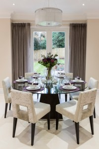 lucite dining table room contemporary with wall mirrors wooden
