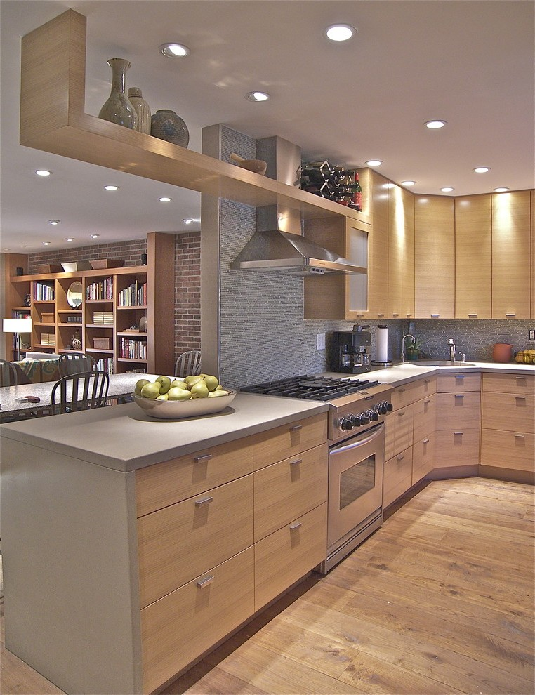 Natural Oak Cabinets Kitchen Modern With Light Wood