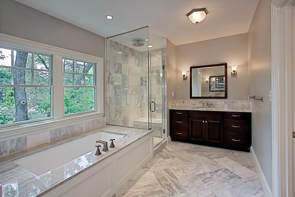 White Carrera Marble Bathroom Transitional With Black