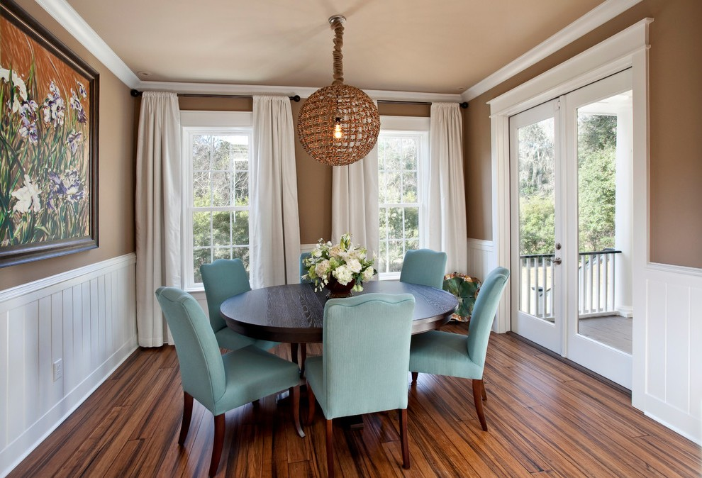 Terrific Craftsman Dining Table With White Wood Recessed