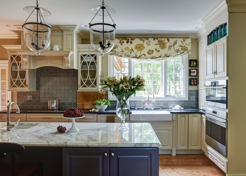 Height Of Lights Above Kitchen Island Chicago Raised Panel Cabinets Kitchen Traditional With