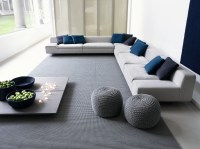Marvelous Living Room with Blue Sofa White Mullions Large ...
