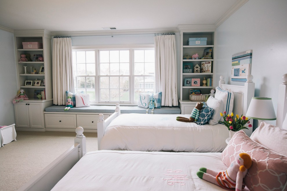 Bedroom With 2 Twin Beds Rooms Blue Carpet Traditional