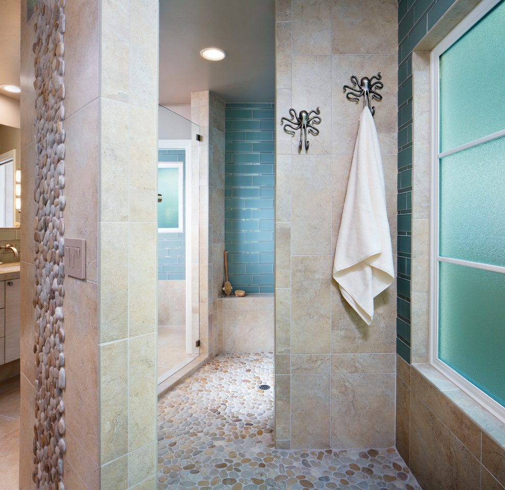 Extraordinary Sea Glass Tile Contemporary Bathroom Image Ideas With Kitchen And Bathroom Designers