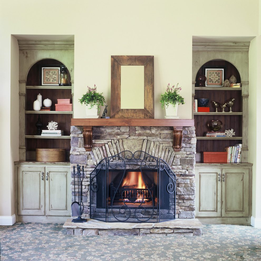 Rustic Family Room Astonishing Limestone Fireplace Surround Rustic Family Room