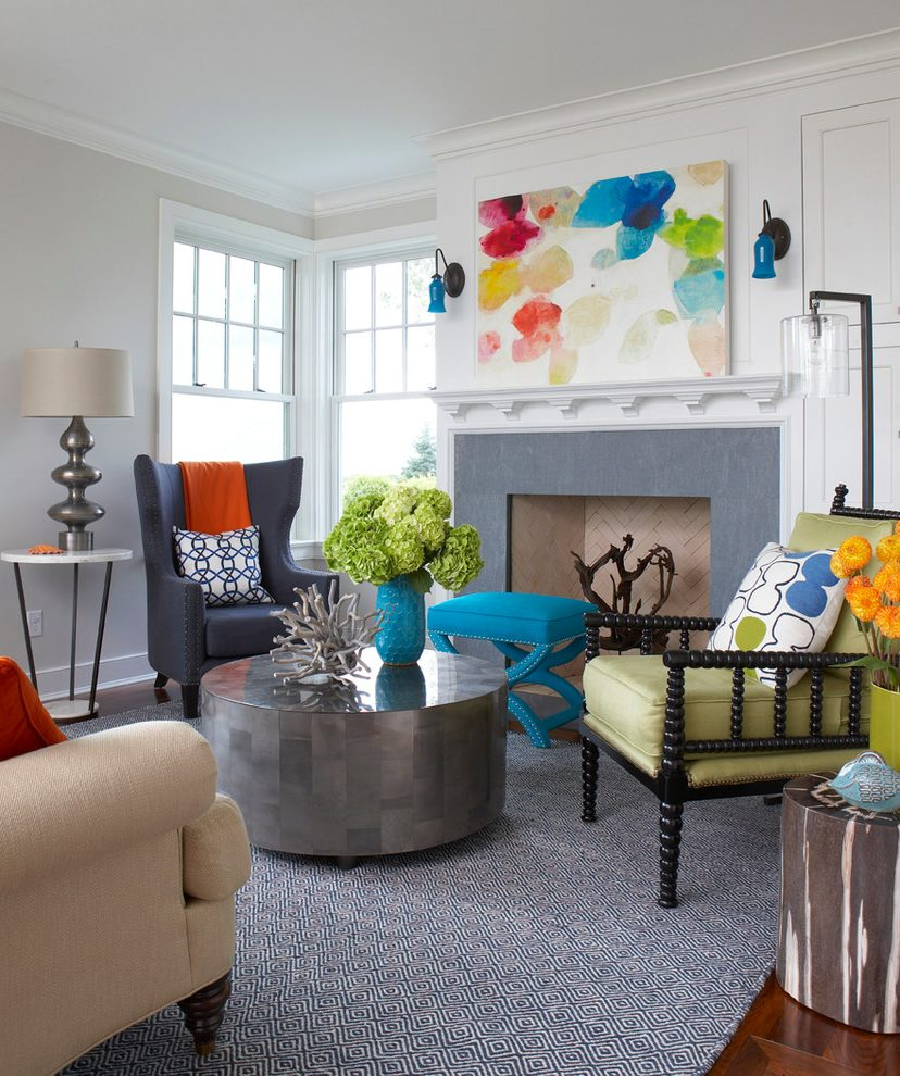 Boston Moroccan Print Fabric Beach Style Living Room With Beach House And Family Room