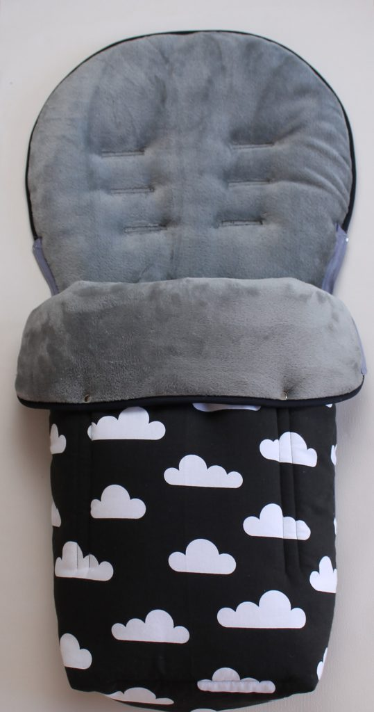 Hartan Baby One Buggy Footmuff For Hartan Or Teutonia Clouds Print Black