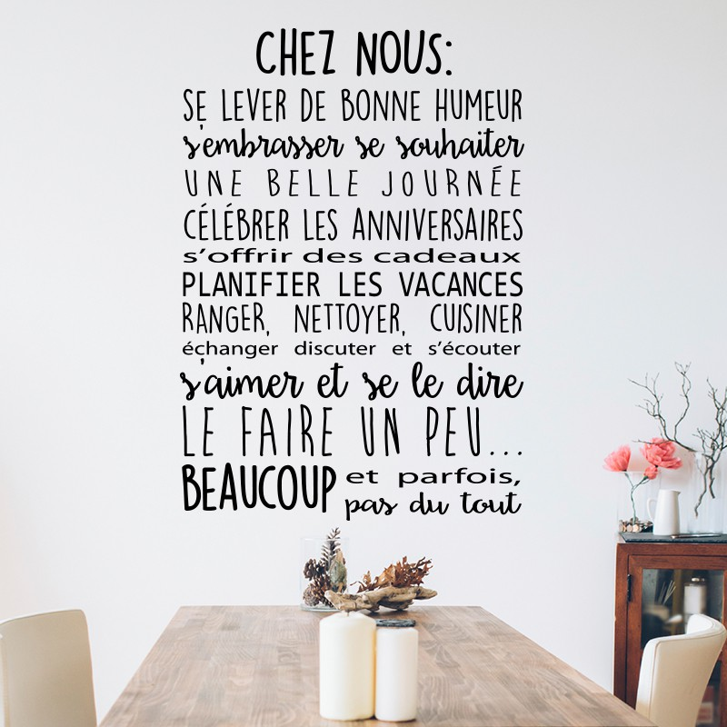 Decoration Maison Orientale Sticker Chez Nous Pas Cher - Stickers Citations Discount