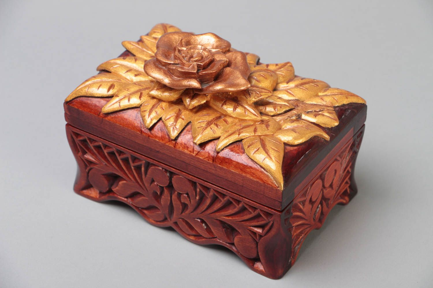Madeheart Gt Handmade Varnished Carved Wooden Jewelry Box