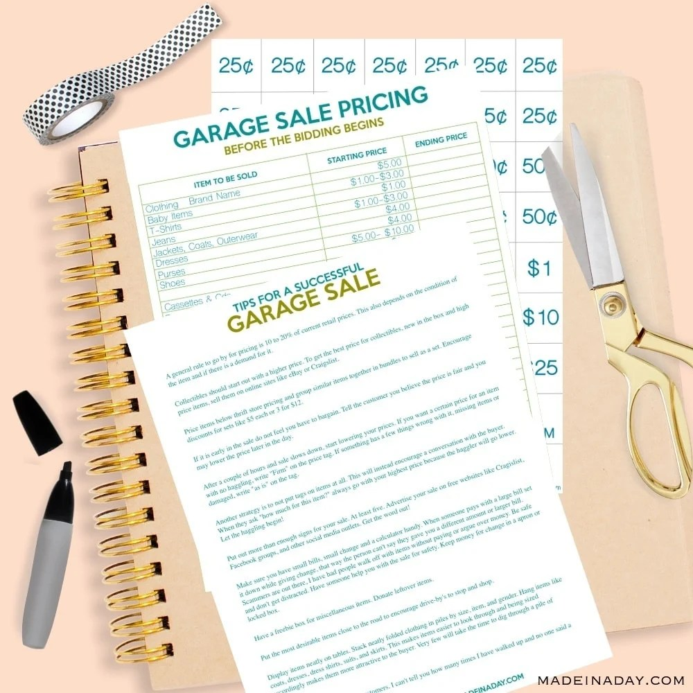 Garage Sale Price Stickers How To Host The Perfect Garage Sale Printable Set