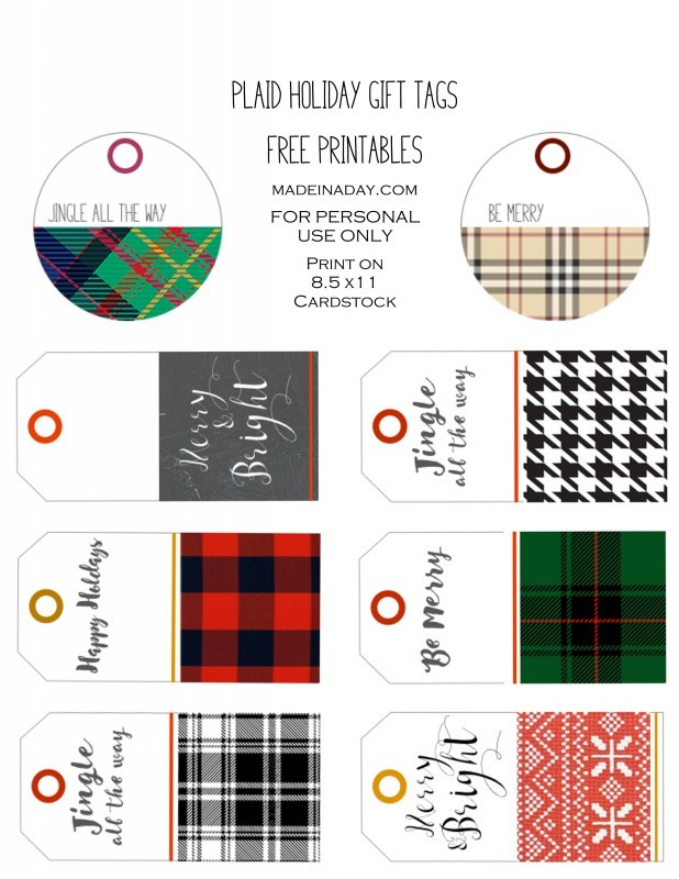 Plaid Holiday FREE Printable Gift Tags