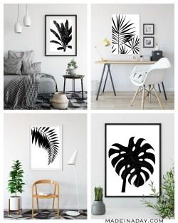 Special A Day Black Wall Art Set Black Wall Art Canvas Palm Leaf Black Printable Wall Tropical Black Palmprintables Black Tropical Palm Leaf Wall Art Printables Made