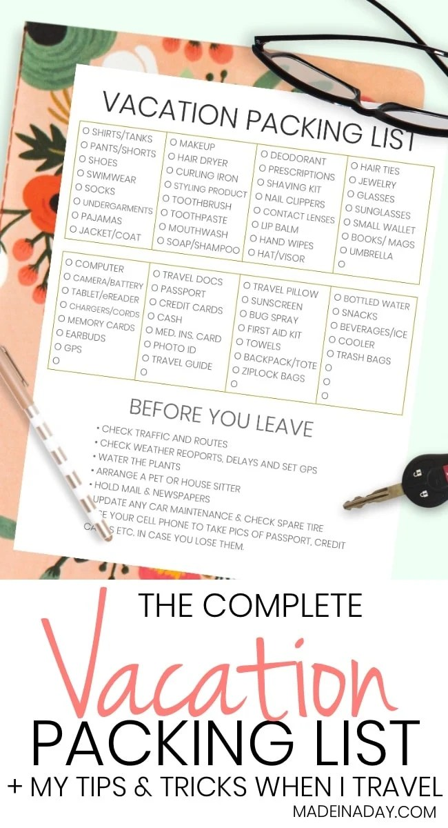The Complete Vacation Travel Packing List + Tips \u2022 Made in a Day