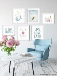 6 Summer Wall Art Printables: Mermaids to Pineapples ...