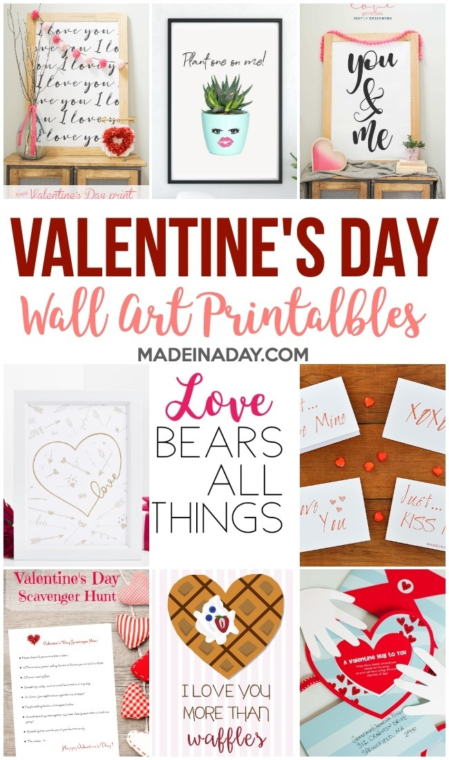 Valentines Day Wall Art Printables  More! \u2022 Made in a Day