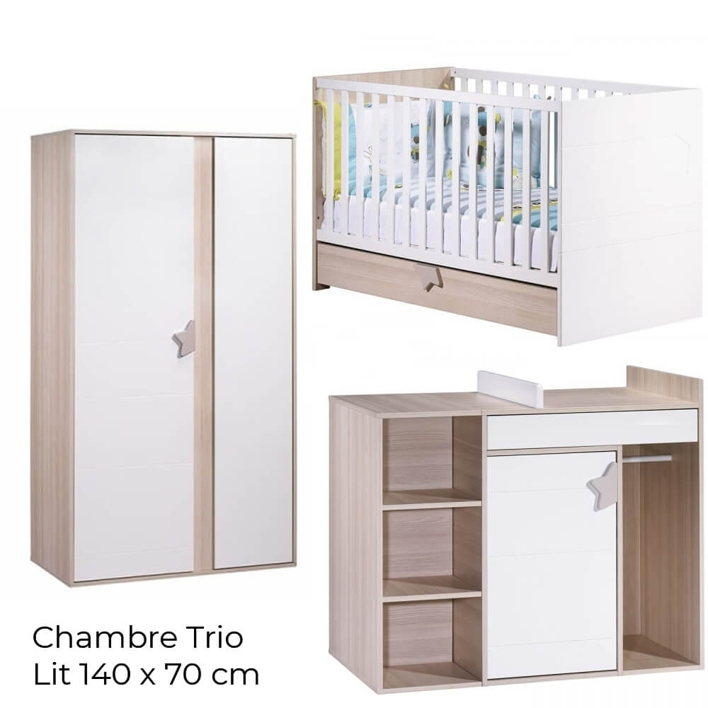 Chambre Complete Sauthon Chambre Trio Lit Little Big Bed 140 X 70 Commode Armoire Norway
