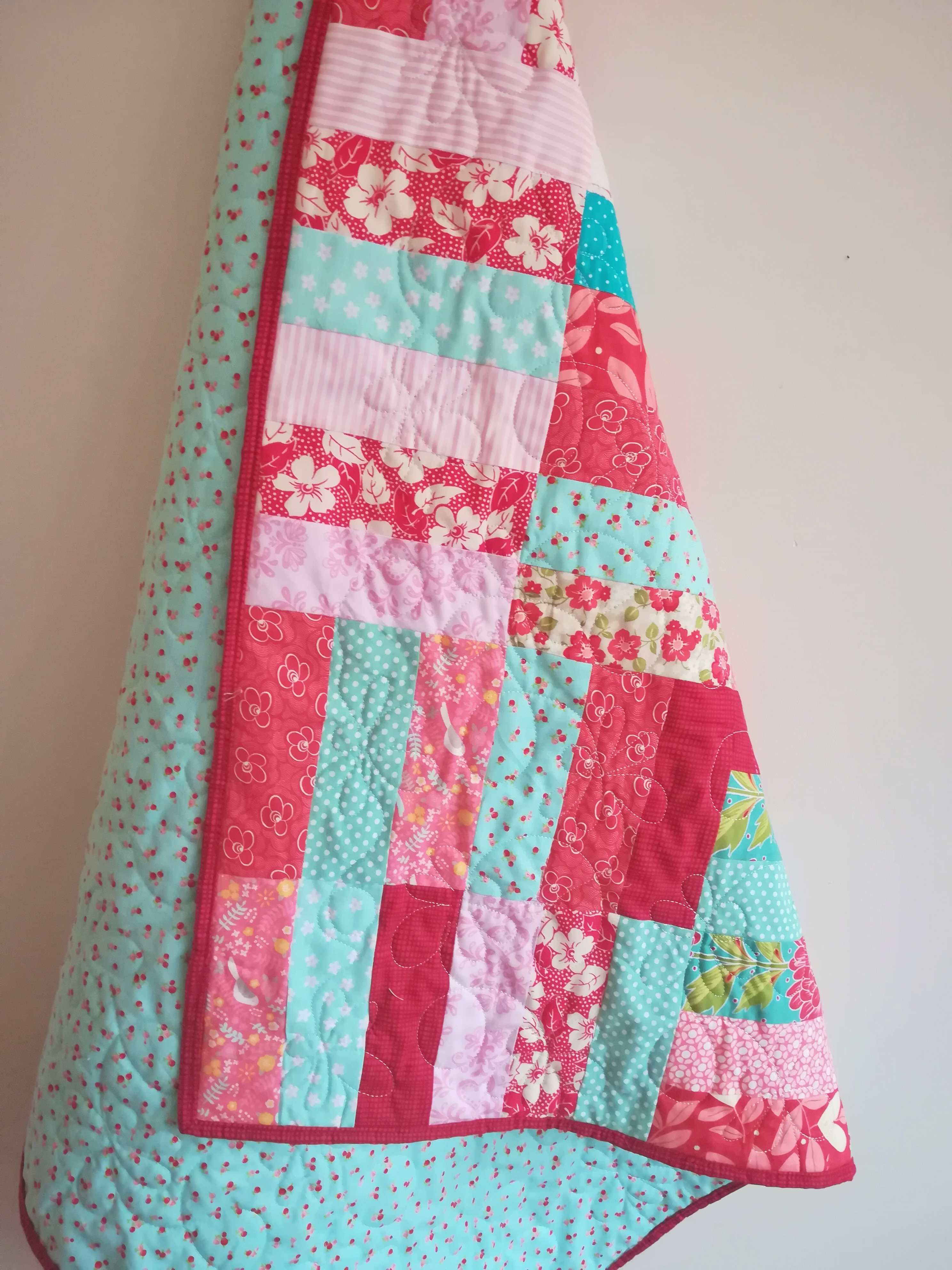 Baby Quilts.com Turquoise Reds And Pinks Make For A Very Pretty Baby Quilt