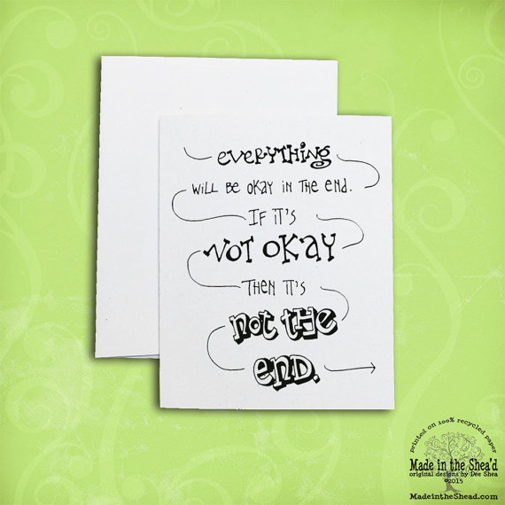 Everything Will Be OK Recycled Paper Notecard\u2026 Hand-Lettering